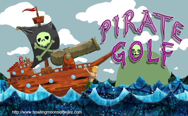 A brave and fearless pirate captain sails in front of a phantasm of text spelling out Pirate Golf